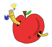 Libro de lectura del gusano en manzana roja stock de ilustración