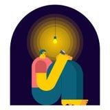Libro de lectura del hombre en oscuridad Lectura de la noche Ilustración del vector libre illustration
