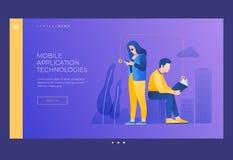 Libro de lectura del hombre joven y de la mujer y de su pantalla del teléfono Concepto de lectura y de aprendizaje stock de ilustración