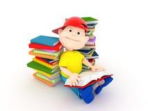 Libro de lectura del muchacho Foto de archivo libre de regalías