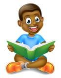 Libro de lectura del muchacho de la historieta Fotos de archivo