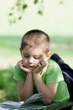 Libro de lectura del niño pequeño en parque Fotos de archivo libres de regalías