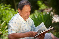 Libro de lectura del viejo hombre Imágenes de archivo libres de regalías
