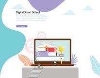 Libro de lectura en línea de los hombres y de las mujeres del concepto del ejemplo del vector de la educación por en línea ilustración del vector