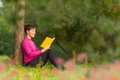Libro de lectura español de la mujer en el parque Fotos de archivo