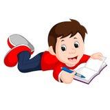 Libro de lectura feliz del muchacho solamente stock de ilustración