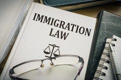 Libro de ley de la inmigración Concepto de la legislación y de la justicia imagen de archivo libre de regalías
