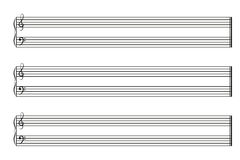 Libro de partitura con los bastones horizontales Imagen de archivo libre de regalías