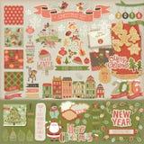Libro de recuerdos de la Navidad fijado - elementos decorativos Foto de archivo libre de regalías