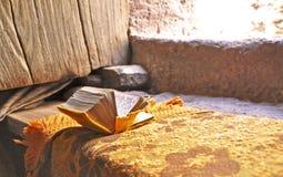 Libro de rezo en Lalibela Imágenes de archivo libres de regalías