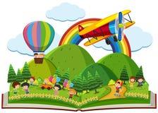 Libro dei bambini che giocano nel parco Immagine Stock