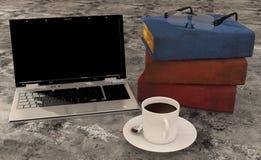 Libro del caffè del computer portatile sul pavimento Fotografie Stock