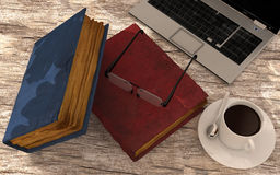 Libro del caffè del computer portatile sul pavimento Fotografia Stock