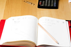 Libro del calendario di ricordo di affari del pianificatore Immagine Stock Libera da Diritti