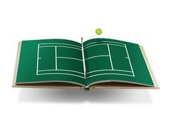 Libro del campo de tenis con la pelota de tenis Imagen de archivo libre de regalías