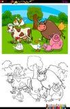 Libro del color del grupo de los caracteres de los animales del campo ilustración del vector