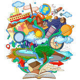 Libro del conocimiento para la geografía ilustración del vector