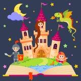 Libro del cuento de hadas con el castillo, princesa, caballero, sirena, dragón