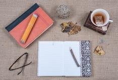 Libro del diario y taza de té Imagen de archivo libre de regalías