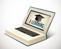 Libro del elearning - aprendizaje de Ebook stock de ilustración