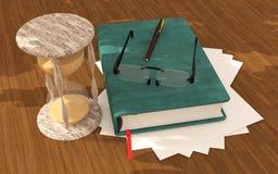 Libro dell'orologio della sabbia sul pavimento Immagine Stock Libera da Diritti