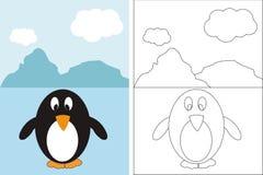 Libro della pagina di coloritura con il pinguino divertente Fotografia Stock