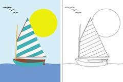 Libro della pagina di coloritura con la barca di navigazione Fotografie Stock