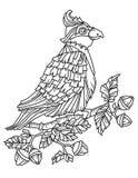 Libro della pagina di coloritura con un uccello Fotografie Stock Libere da Diritti