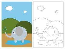 Libro della pagina di coloritura - elefante Immagini Stock Libere da Diritti