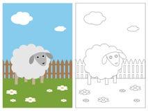 Libro della pagina di coloritura - pecora Fotografia Stock Libera da Diritti