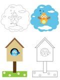 Libro della pagina di coloritura per i bambini - uccelli Fotografia Stock Libera da Diritti