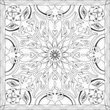 Libro della pagina di coloritura per il formato quadrato Mandala Flower Design Vector Illustration degli adulti Fotografia Stock Libera da Diritti