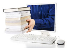 Libro di acquisto in linea Fotografie Stock