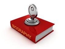 Libro di biografia con la chiave di catenaccio sicurezza privata Fotografie Stock