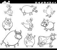Libro di colore della raccolta degli animali da allevamento del fumetto Immagine Stock Libera da Diritti