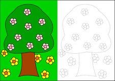 Libro di coloritura - albero Fotografia Stock Libera da Diritti