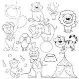 Libro di coloritura con gli elementi del circo Immagini Stock