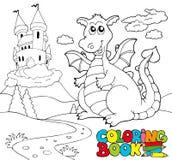 Libro di coloritura con il grande drago 2 Fotografia Stock