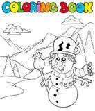 Libro di coloritura con il pupazzo di neve del fumetto Immagine Stock Libera da Diritti