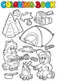 Libro di coloritura con il tema di campeggio Immagini Stock