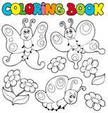 Libro di coloritura con le farfalle 1 Fotografia Stock