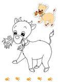 Libro di coloritura degli animali 3 - capra illustrazione vettoriale