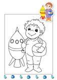 Libro di coloritura degli impianti 1 - atronauta Fotografia Stock