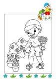 Libro di coloritura degli impianti 21 - giardiniere Fotografie Stock Libere da Diritti