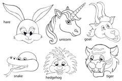 Libro di coloritura Teste animali insieme Stile del fumetto Fotografia Stock Libera da Diritti
