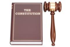 Libro di costituzione con il martelletto, rappresentazione 3D illustrazione vettoriale