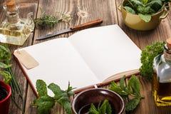 Libro di cucina in bianco fotografia stock