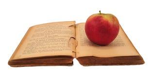 Libro di cucina con la mela fotografia stock