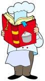 Libro di cucina della lettura del cuoco unico Fotografia Stock