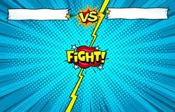 Libro di fumetti contro il fondo del modello di lotta, introduzione di battaglia del supereroe illustrazione di stock